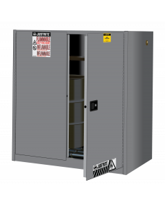 Sure-Grip® EX Vertical Drum Safety Cabinet and Drum Rollers, 60 gallon, 2 self-close doors, Gray - #899073