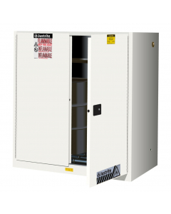 60 Gallon, 2 Drum Vertical, 1 Shelf, 2 Doors, Self Close, Safety Cabinet With Drum Rollers, Sure-Grip® EX, White - 899075