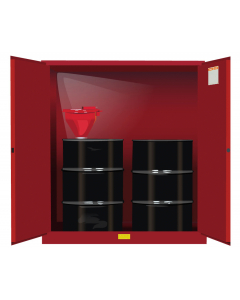 110 Gallon, 2 Drum Vertical, 1 Shelf, 2 Doors, Self Close, Flammable Cabinet With Drum Support, Sure-Grip® EX, Red - 899101