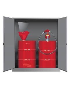 Sure-Grip® EX Vertical Drum Safety Cabinet and Drum Support, 110 gallon  2 manual close doors, Gray - #899103