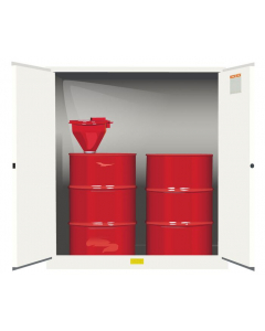 110 Gallon, 2 Drum Vertical, 1 Shelf, 2 Doors, Self Close, Flammable Cabinet With Drum Support, Sure-Grip® EX, White - 899105