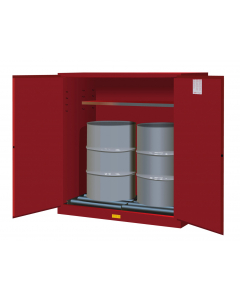 110 Gallon, 2 Drum Vertical, 1 Shelf, 2 Doors, Self Close, Flammable Cabinet With Drum Rollers, Sure-Grip® EX, Red - 899161