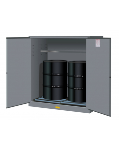 110 Gallon, 2 Drum Vertical, 1 Shelf, 2 Doors, Self Close, Flammable Cabinet With Drum Rollers, Sure-Grip® EX, Gray - 899163