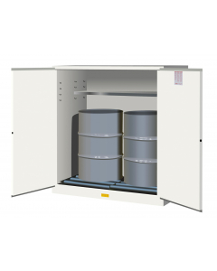 110 Gallon, 2 Drum Vertical, 1 Shelf, 2 Doors, Self Close, Flammable Cabinet With Drum Rollers, Sure-Grip® EX, White - 899165