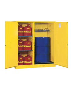 Sure-Grip® EX Double-Duty Safety Cabinet with Drum Rollers, 2 manual close doors, Yellow - #899260