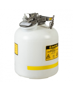 """Quick-Disconnect Disposal Safety Can with fittings for 3/8"""" tubing, 5 gallon, polyethylene, White - #BY12755"""