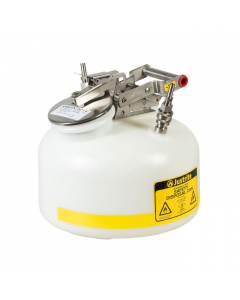 """2 Gallon, Polyethylene Quick-Disconnect Disposal Safety Can, Stainless Steel Fittings for 3/8"""" Tubing, White - TF12752"""