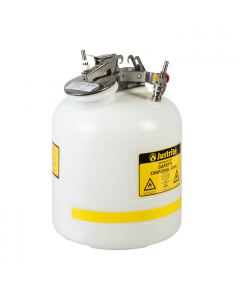 """Quick-Disconnect Disposal Safety Can, stainless steel fittings for 3/8"""" tubing, 5 gal., poly, White. - #TF12755"""