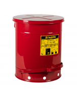 14 Gallon, Oily Waste Can, Hands-Free, Self-Closing Cover, SoundGard™, Red - 09508