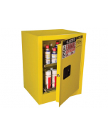 1 Door, Manual Close, 2 Drawers, 24 Can Benchtop Flammable Cabinet, Sure-Grip® EX, Yellow - 890500