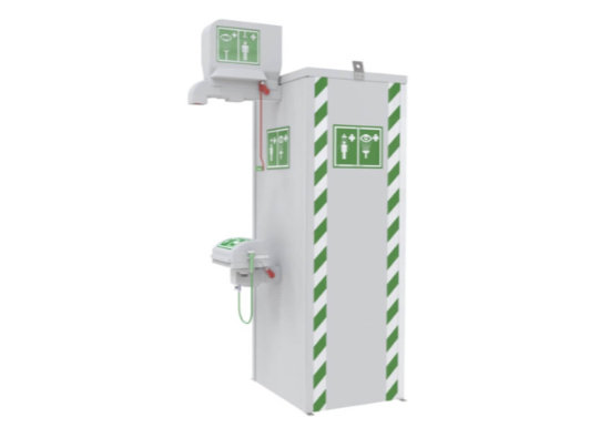 Temperature controlled safety showers